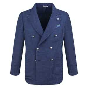 Navy Jacquard Cotton Double-Breasted Blazer