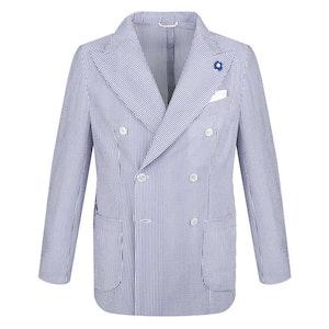White and Blue Stripe Seersucker Cotton Double-Breasted Blazer