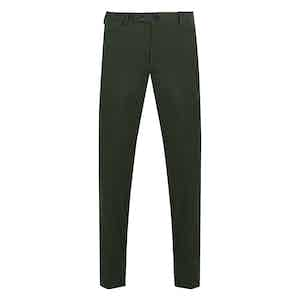 Green Casual Fustian Cotton Trousers