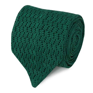 Green Pointelle-Knit Silk Tie