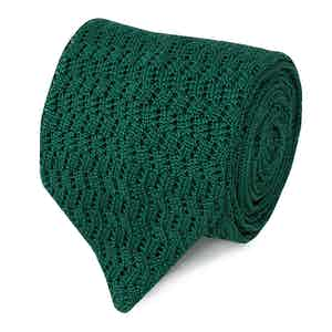 Green Pointelle-Knit Silk Tie