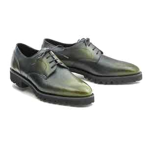 Green Patinated Pebble Grain Leather Derby Shoe
