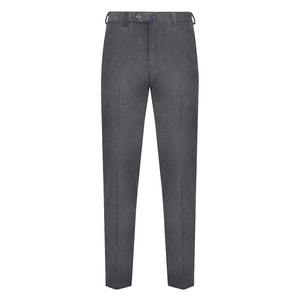 Grey Corduroy Flat-Fronted Trousers