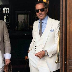 AK MC Signature Gatsby Jacket In Off-White Cotton Corduroy