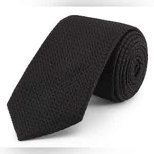 Black Grenadine Weave Silk Tie