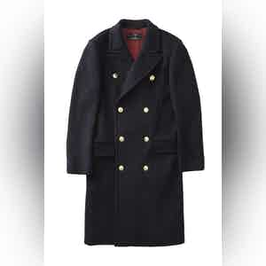 Navy Blue Harlock Double Breasted Coat