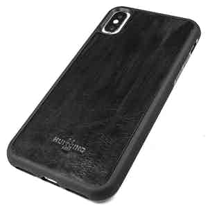 Black Handpainted Leather iPhone X Case