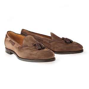 Brown Hemingway Suede Tassel Loafers