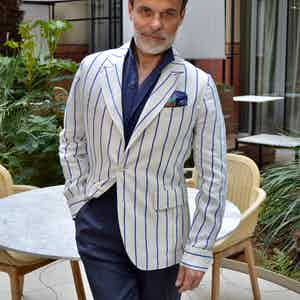 White and Blue Pinstriped Linen Single-Breasted Sport Teba Jacket