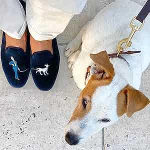 Dark Blue Embroidered Velvet Slippers – AK & Bertie