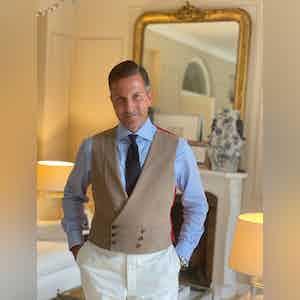 AK MC double breasted waistcoat in café-au-lait khaki super-soft cotton