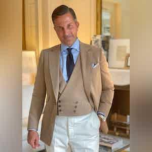 AK MC signature jacket in café-au-lait khaki super-soft summer cotton
