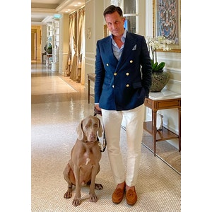 AK MC double breasted blazer in navy linen with bespoke domed brass buttons