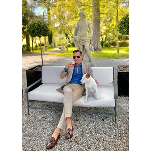 AK MC hand made Goodyear tassel loafers in hand burnished burgundy brown calf leather