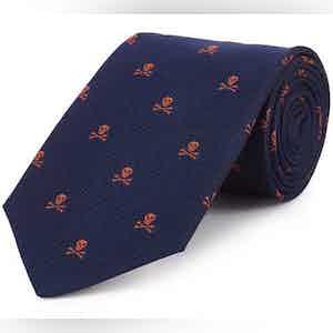 Navy and Orange Skull and Crossbones Print Silk Tie