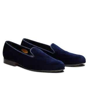 Navy Royal Albert Velvet Slippers