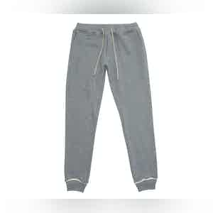 Stone Grey Adrian Melange Cotton Fleece Jogging Trousers