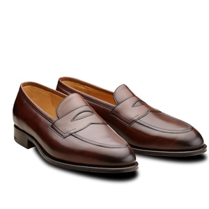 Dark Oak Piccadilly Leather Penny Loafers