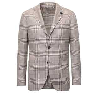 Brown Check Unlined Single-Breasted Wool Blazer
