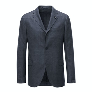 Dark Grey Check Wool Two Piece Suit