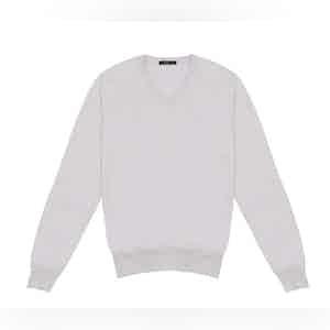 Beige Cashmere And Silk V-neck Sweater