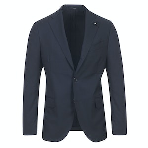 Navy High-Twist Wool Single-Breasted Two-Piece Suit