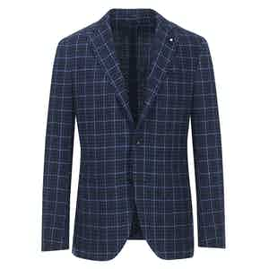 Navy and Light Blue Check Cotton Blend Single-Breasted Blazer