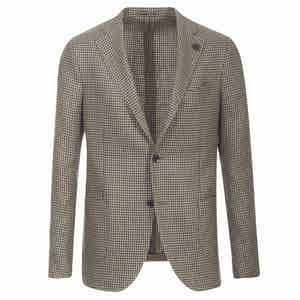 Brown Houndstooth Wool and Linen Single-Breasted Blazer