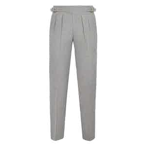 Light Grey Manny Pleated Flannel Trousers