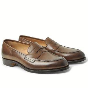 Dark Brown Ebury Burnished Calf Leather Penny Loafers
