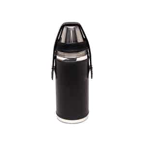 Black and Silver 8 Oz Hunter's Flask with 4 Cups, Lifestyle Collection