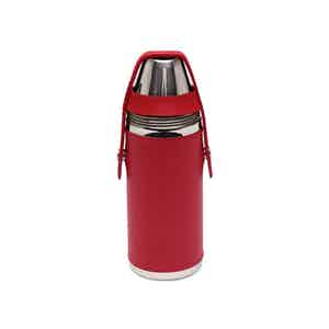 Red and Silver 8 Oz Hunter's Flask with 4 Cups, Lifestyle Collection