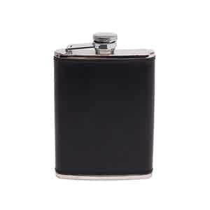 Black and Silver 6 Oz Captive Top Leather Bound Hip Flask, Lifestyle Collection