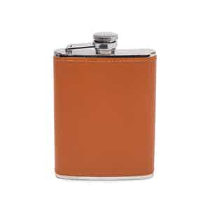 London Tan and Silver 6 Oz Captive Top Leather Bound Hip Flask, Lifestyle Collection