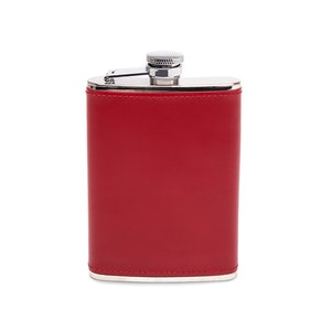 Red and Silver 6 Oz Captive Top Leather Bound Hip Flask, Lifestyle Collection
