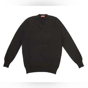 Black Cashmere V-Neck Sweater
