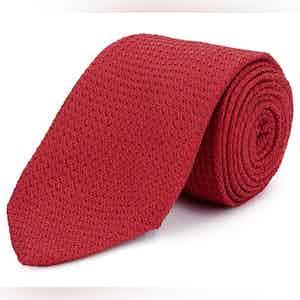 Red Grenadine Weave Silk Tie