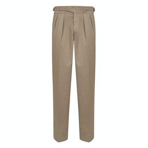 Beige Manny Pleated Cotton Trousers