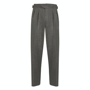 Light Grey Wool Flannel Pleated Manny Trousers