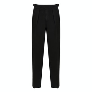 Black Manny Pleated Cotton Trousers