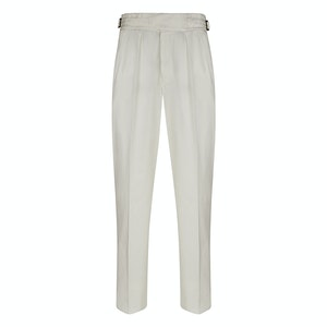 White Manny Pleated Cotton Trousers