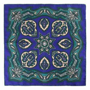 Navy Magnolia Chianti Silk Pocket Square