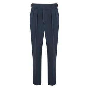 Navy Manny Pleated Cotton Trousers