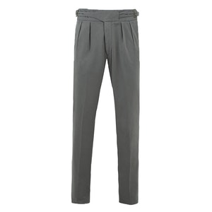 Grey Manny Pleated Cotton Trousers