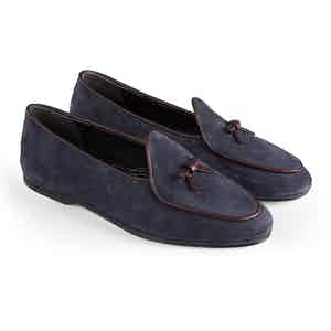 Blue Marphy Suede Loafers