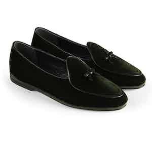 Dark Green Marphy Velvet Loafers