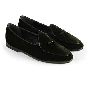 Dark Green Marphy Velvet Loafers