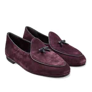 Wine Marphy Suede Loafers