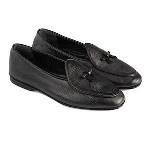Black Marphy Deerskin Leather Loafers