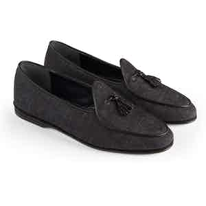 Black Denim Marphy Suede Tasseled Loafers